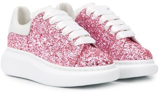 Alexander McQueen Oversized-Sole Glittered Sneakers