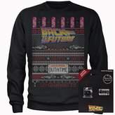 Back To The Future OUTATIME Men's Christmas Sweatshirt And Pin Badge Bundle