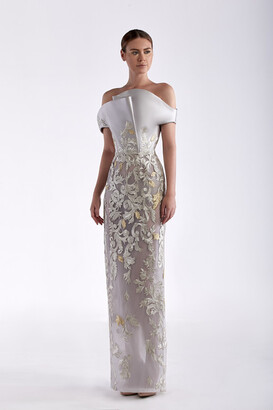 Edward Arsouni Satin and Guipure Gown