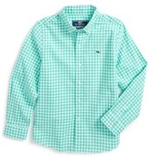 Vineyard Vines Toddler Boy's Great Harbour Gingham Whale Woven Shirt