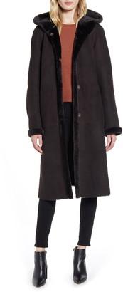 HiSO Reversible Hooded Genuine Shearling Coat