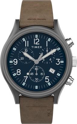 Timex MK1 Chronograph Leather Strap Watch, 42mm