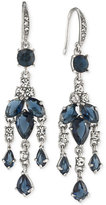 Carolee Silver-Tone Blue and Clear Crystal Mini Chandelier Earrings