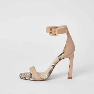 River Island Womens Pink barely there wide fit heeled sandals