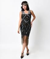 Unique Vintage 1920s Black Deco Beaded Marceline Fringe Flapper Dress