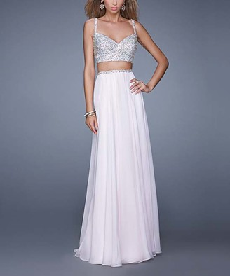 La Femme Women's Special Occasion Dresses Pale - Pale Pink Beaded-Top Two-Piece V-Neck Gown - Women
