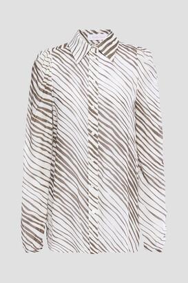 See by Chloe Gathered Zebra-print Woven Top