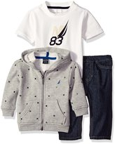 Nautica Baby Three Piece Set with Fleece Printed Hoodie, Tee, and Denim Jean