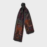 Paul Smith Men's 'Monkey' And 'Leopard' Double-Sided Wool-Cashmere Scarf