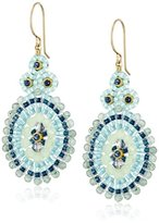 Miguel Ases Jade Outlined Small Oval Drop Earrings