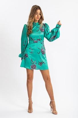 Liquorish Balloon Sleeve Mini Dress In Green Floral Print