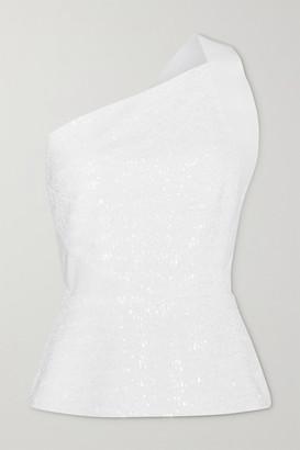 Roland Mouret Coreana One-shoulder Sequined Crepe Top - White