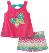 Kids Headquarters Pink & Teal Butterfly Tank & Shorts - Infant Toddler & Girls