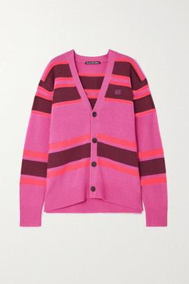 Acne Studios - Net Sustain Appliqued Striped Wool Cardigan - Pink