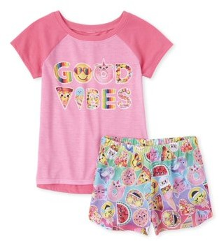 The Children's Place The Childrens Place Short Sleeve High-Low 'Good Vibes' Emoji Pajama Short Set (Big Girls)