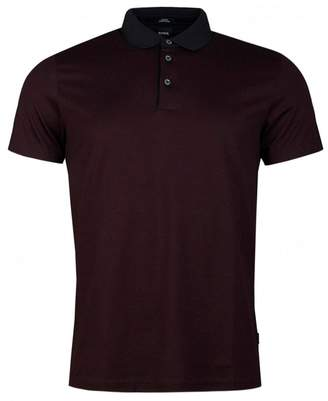 BOSS Pitton 14 Mercerized Space Polo Shirt Colour: BURGUNDY, Size: MED