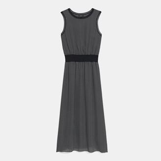 Theory Ribbed Trim Dress in Diamond Print Silk
