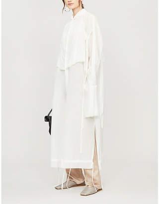 PHAEDO Layered tie-embellished silk shirt dress