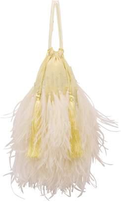 ATTICO feather-trim tote bag yellow