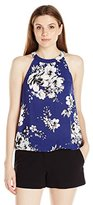 Blu Pepper Women's Sleeveless Allover Floral Printed Top