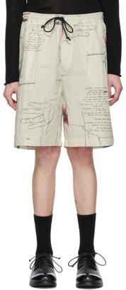 Isabel Benenato Off-White Printed Cotton Shorts