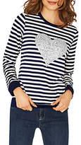 Oasis Stripe Glitter Heart Jersey Top, Multi