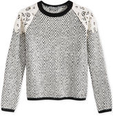 GUESS Lace-Trim Herringbone Sweater, Big Girls (7-16)