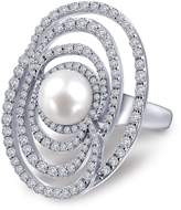 Lafonn Platinum Over Sterling Silver Micro Pave Simulated Diamond & Genuine White Pearl Ring