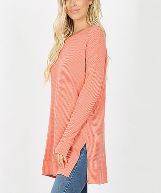 Lydiane Women's Pullover Sweaters DEEPCORAL - Deep Coral Crewneck Side-Slit Waffle-Knit Tunic - Women & Plus