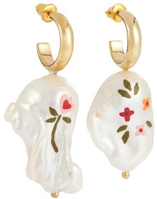 Simone Rocha Hand-painted baroque pearl earrings