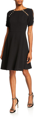Shani Short-Sleeve Fit-&-Flare Dress with Pearlescent Detail