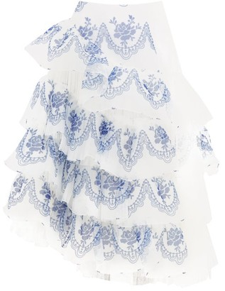 Simone Rocha Floral-print Organza And Tulle Skirt - Womens - Blue White