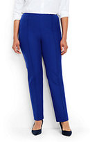 Lands' End Women's Plus Size Mid Rise Bi-Stretch Slim Leg Pants-Rich Sapphire