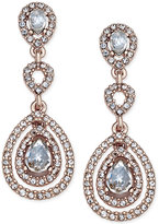 Charter Club Rose Gold-Tone Pavé Crystal Drop Earrings, Only at Macy's