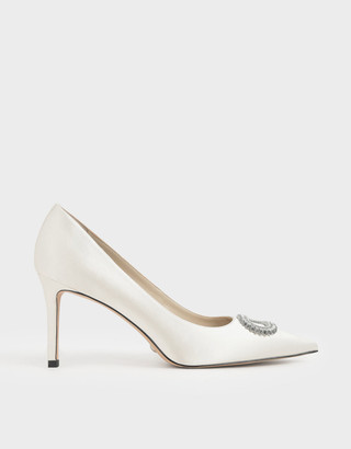 Charles & Keith Wedding Collection: Satin Embellished Pumps