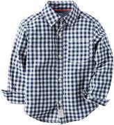 Carter's Long-Sleeve Navy Check Woven Gingham Shirt - Boys 4-8