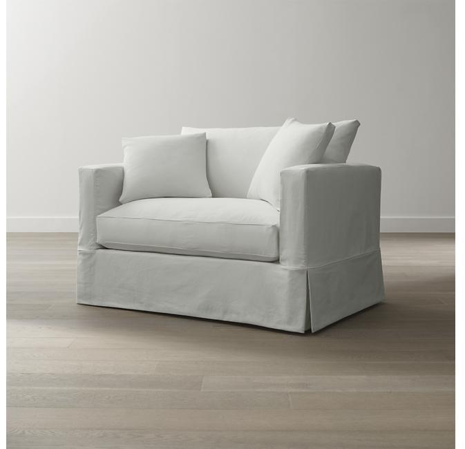 J.K. Adams Slipcover Only for Willow Chair and a Half - Snow