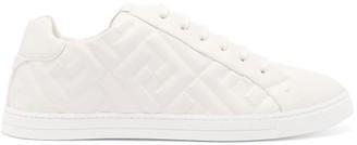 Fendi Logo-embossed Leather Trainers - White