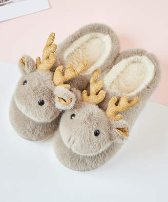 Dudu Town TOWN Women's Slippers Light - Light Brown Moose Fuzzy Slippers - Women