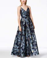 Calvin Klein Floral-Print Embroidered Ballgown