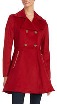 Laundry by Shelli Segal Wool-Blend Double-Breasted Fit-and-Flare Coat
