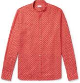 Incotex - Slim-fit Grandad-collar Printed Cotton And Linen-blend Shirt