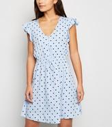 New Look Petite Spot Ruffle Mini Dress