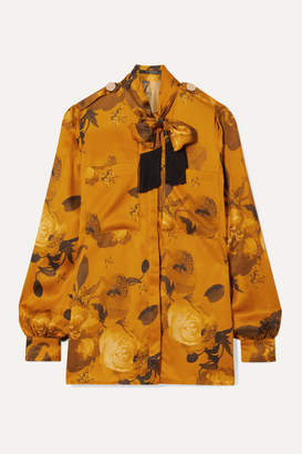 Mother of Pearl Leandra Fringed Pussy-bow Floral-print Satin Shirt - Saffron