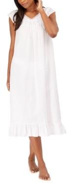 Miss Elaine Cotton Ruffle-Hem Swiss Dot Nightgown