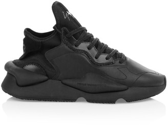Y-3 Kaiwa Mixed Media Leather Chunky Sneakers