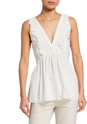 Brunello Cucinelli Lace-Trim Babydoll Peasant Blouse