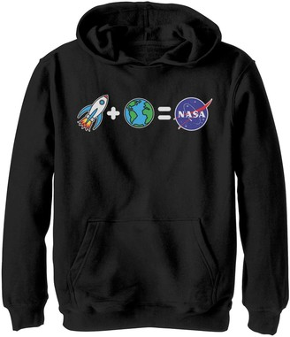 Licensed Character Boys 8-20 NASA Rocket Plus Planet Earth Equals NASA Emoji Graphic Hoodie