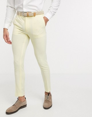 ASOS DESIGN super skinny suit pants in lemon yellow