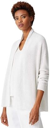 Eileen Fisher Peruvian Organic Cotton Tencel Boxy Short Cardigan (Chalk) Women's Clothing